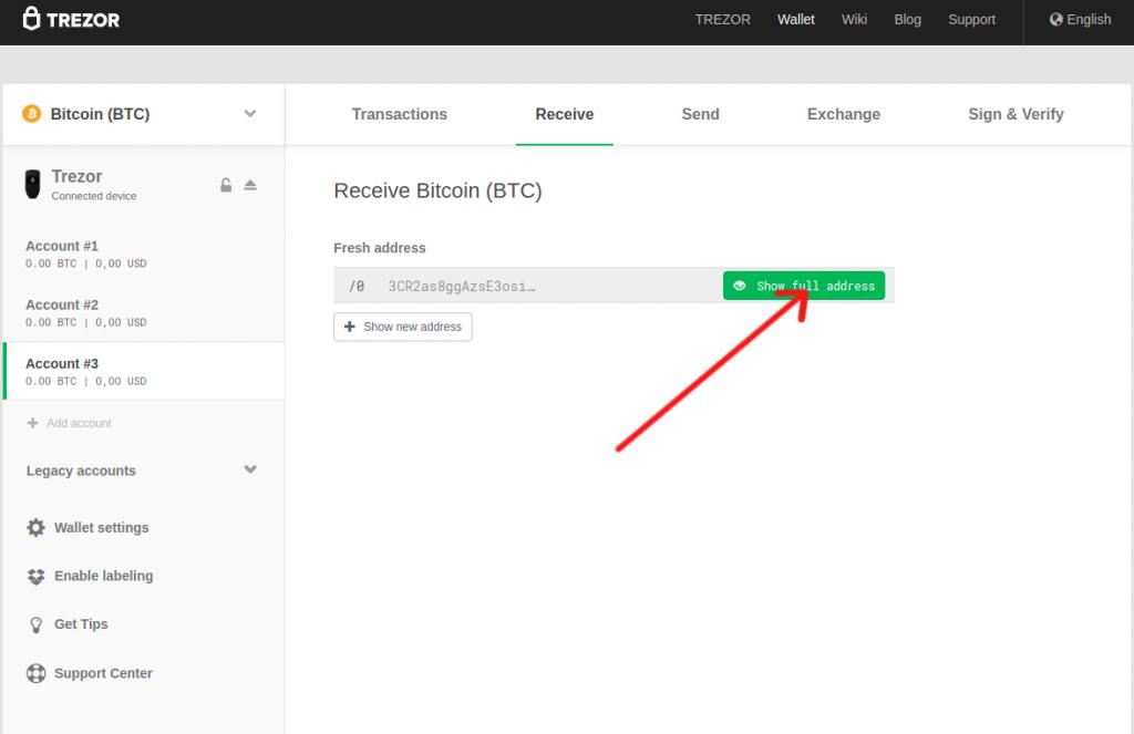 Trezor bitcoin show address